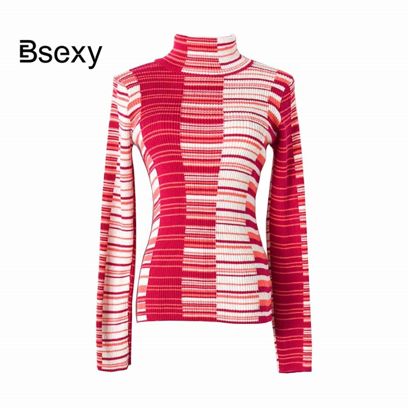 Concepteur de piste femmes pull en laine 2019 col roulé à manches longues rayé Slim moulante pull femme hiver tricoté hauts