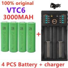 100% novo 3.7v 18650 bateria 3000mah vtc6 recarregável li-ion bateria para us18650vtc6 30a para e-cigarro + 1pc carregador de bateria