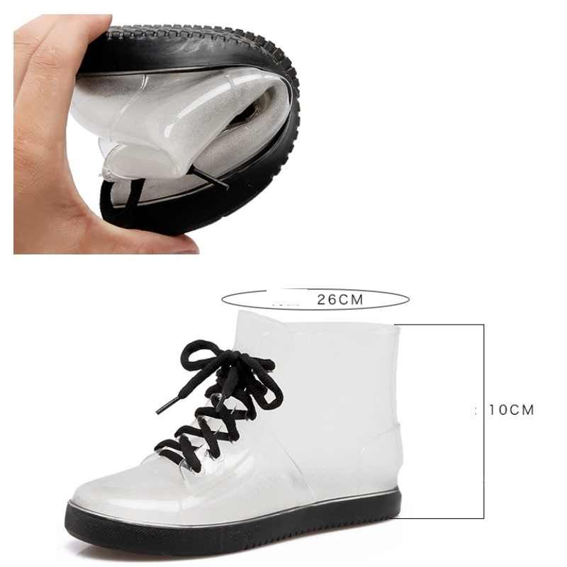 Giày Bốt Nữ Chống Nước Mưa Giày Nhựa PVC Thời Trang Bao Giày Chống Trơn Bé Gái Giày Giày Chống Nước Ngoài Trời Pha Lê Trong Suốt Giày