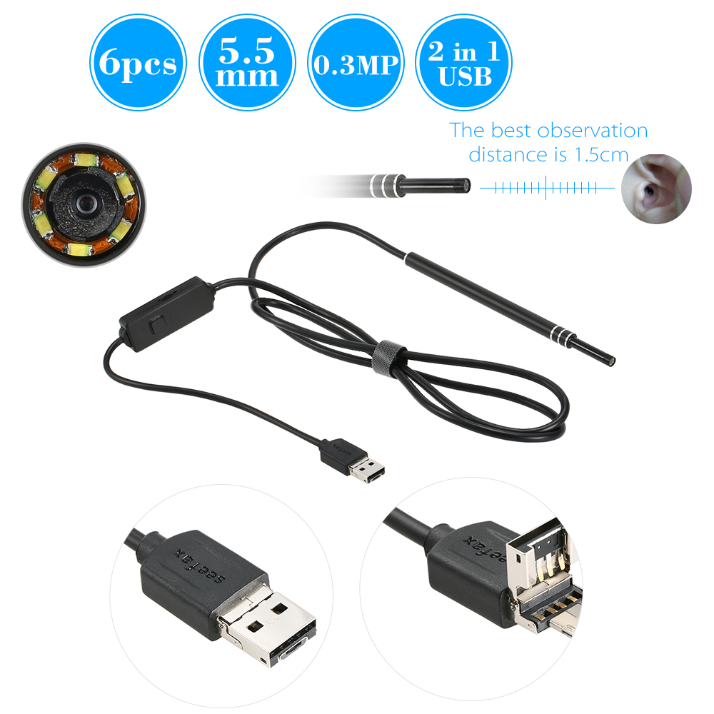 6 LED 5.5MM Lens Endoscope Inspection USB Wire Snake Tube Camera For Ear Nose Throat Health Care Work With Android And Window PC