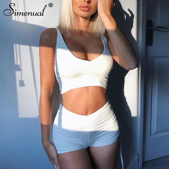 Simenual Drawstring Athleisure Casual Matching Sets Women Strap V Neck Active Wear Two Piece Outfits Solid Top And Shorts Set