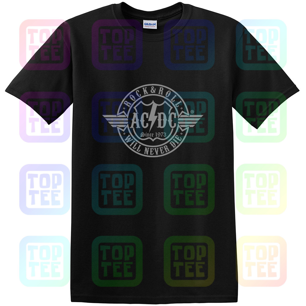 OFFICIAL LICENSED - AC/DC - ROCK N ROLL WILL NEVER DIE T SHIRT ROCK ANGUS