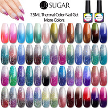Ur açúcar 7.5ml gel glitter térmico embeber fora uv led temperatura cor mudando unha arte gel verniz base superior casaco(China)