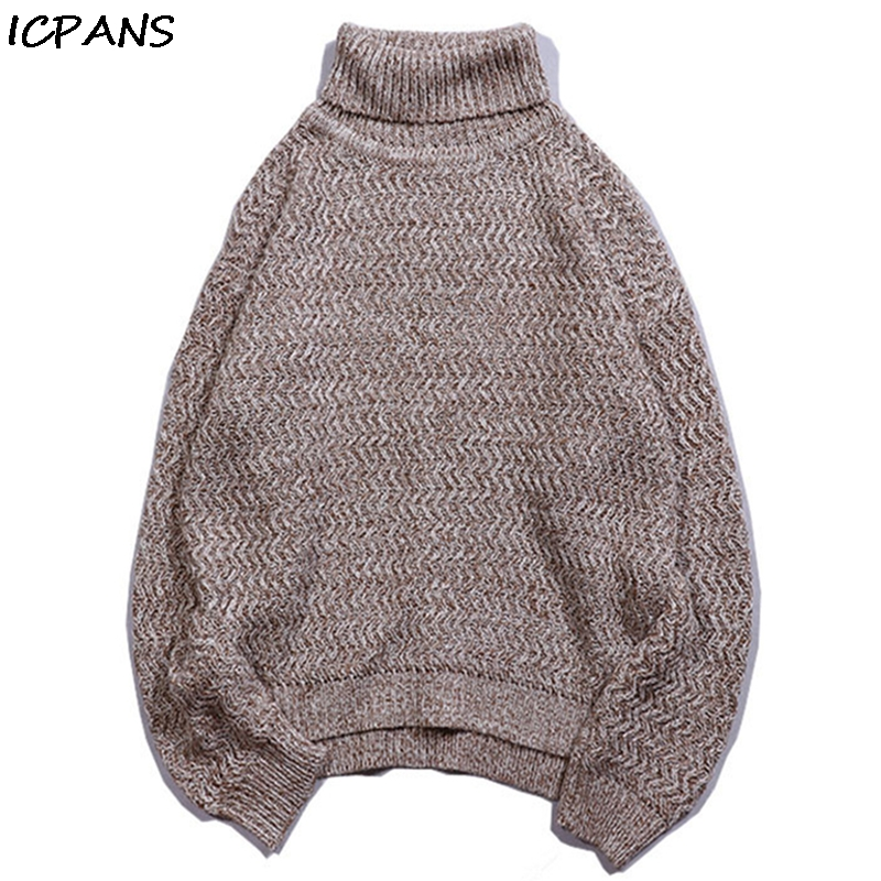 ICPANS Mens Autumn Turtleneck Pullovers Retro Vintage Loose Harajuku Sweater Pullover Needlework Knitted