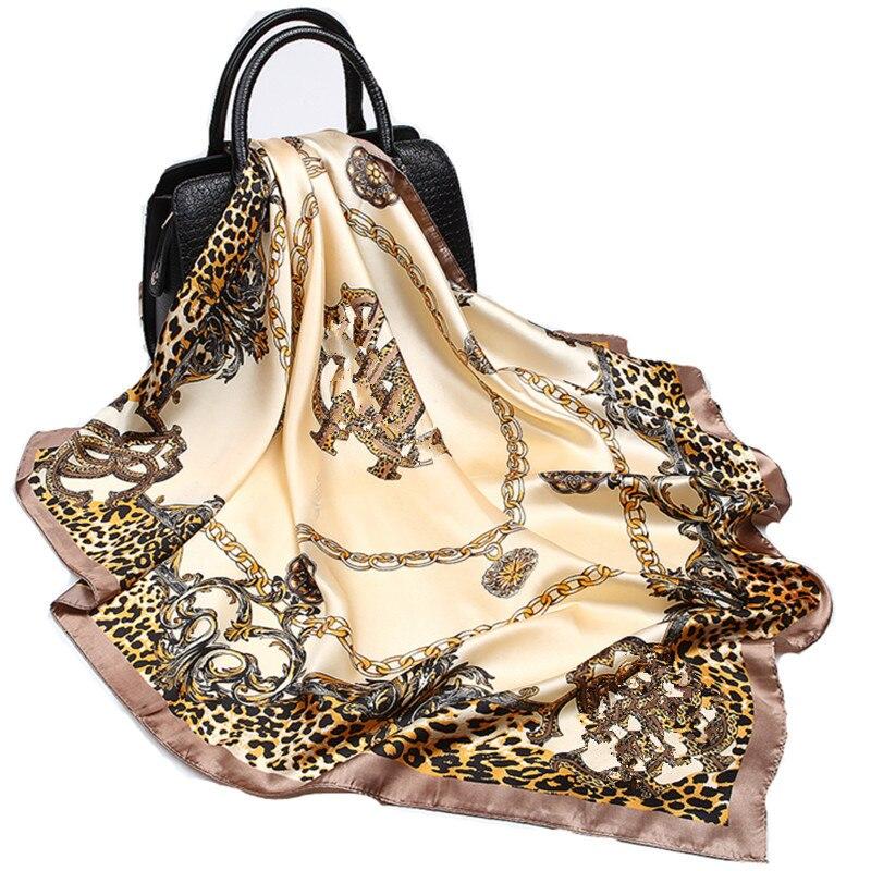 Silk Scarf For Women Chain Leopard Printed Foulard 90cm Satin Square Shawl Luxury Brand Bandana For Head Hijab Scarfs For Ladies