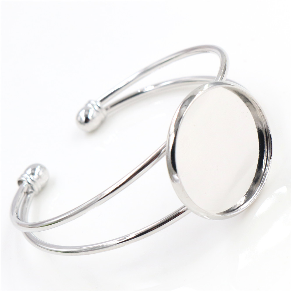 High Quality  25mm Rhodium Color Plated Bangle Base Bracelet Blank Findings Tray Bezel Setting Cabochon Cameo  (L1-27)