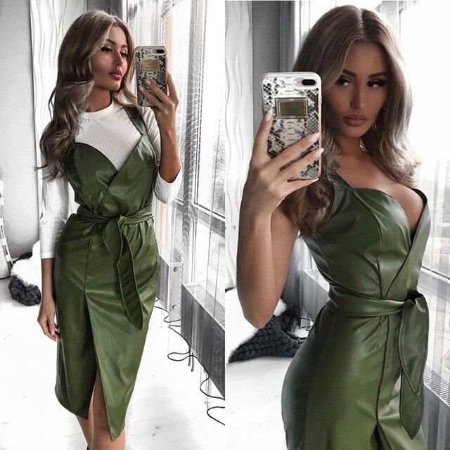 Women Sashes Pu Leather Club Sexy Dress Back Cross Spaghetti Strap Fashion Lady Elegant Dress Knee Length 2019 Vintage v Neck 1