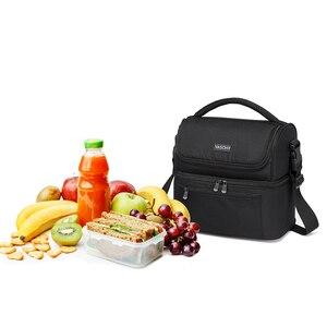 Image 5 - VASCHY Insulated Lunch Box 남성용 여성용 이중 구획 점심 토트 백 누출 방지 쿨러 백 14 캔 와인 백 쿨러 박스