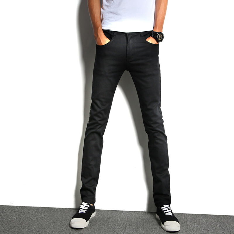 New Style MEN'S Jeans Black And White With Pattern Youth Elasticity Versatile Pants Men's Korean-style Trend Slim Fit Pants Cowb