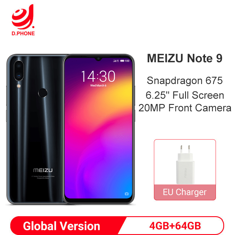 Meizu Note 9 4GB 64GB Snapdragon 675 Octa Core Global Version Smartphone  Note9 48MP Dual Camera AI Front 20MP 4000mAh