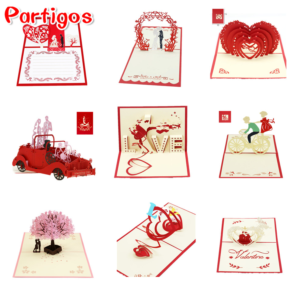 1Pcs Party 3D Pop Up Cards Valentine Lover Happy Birthday Anniversary Greeting Cards Wedding Invitation Gifts