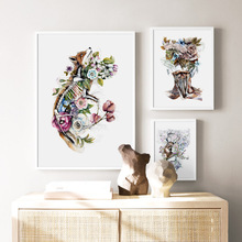 Abstract Woman Elk Fox Flower Leaf Nordic Posters And Prints Wall Art Canvas Painting Pictures For Living Room Home Decor