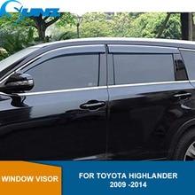 цена на Side window deflectors For TOYOTA HIGHLANDER 2009 2010 2011 2012 2013 2014 Window Visor Vent Shade Sun Rain Deflector Guard SUNZ