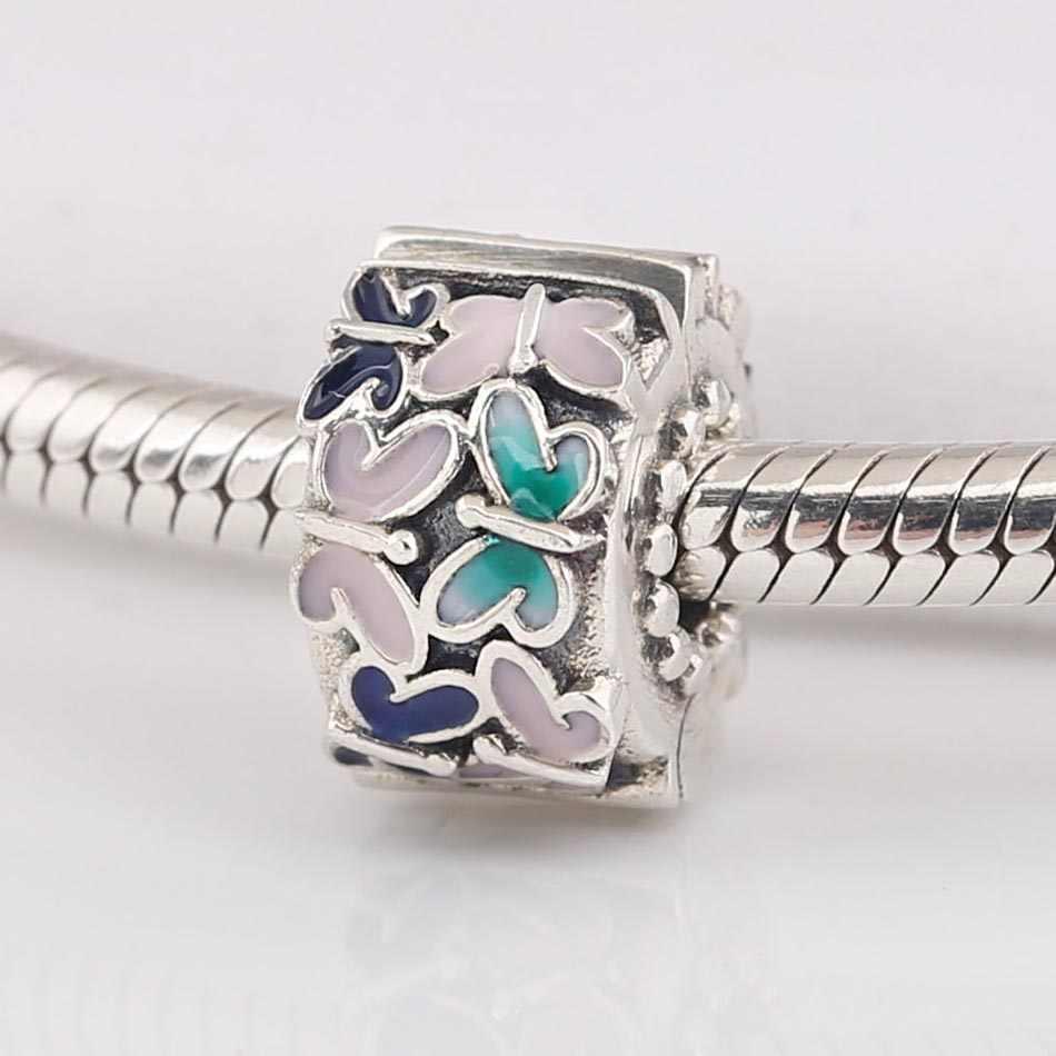 Campuran Asli Enamel Kupu-kupu Pengaturan Klip Sumbat Manik-manik Fit 925 Sterling Perak Pesona Pandora Gelang Bangle Perhiasan