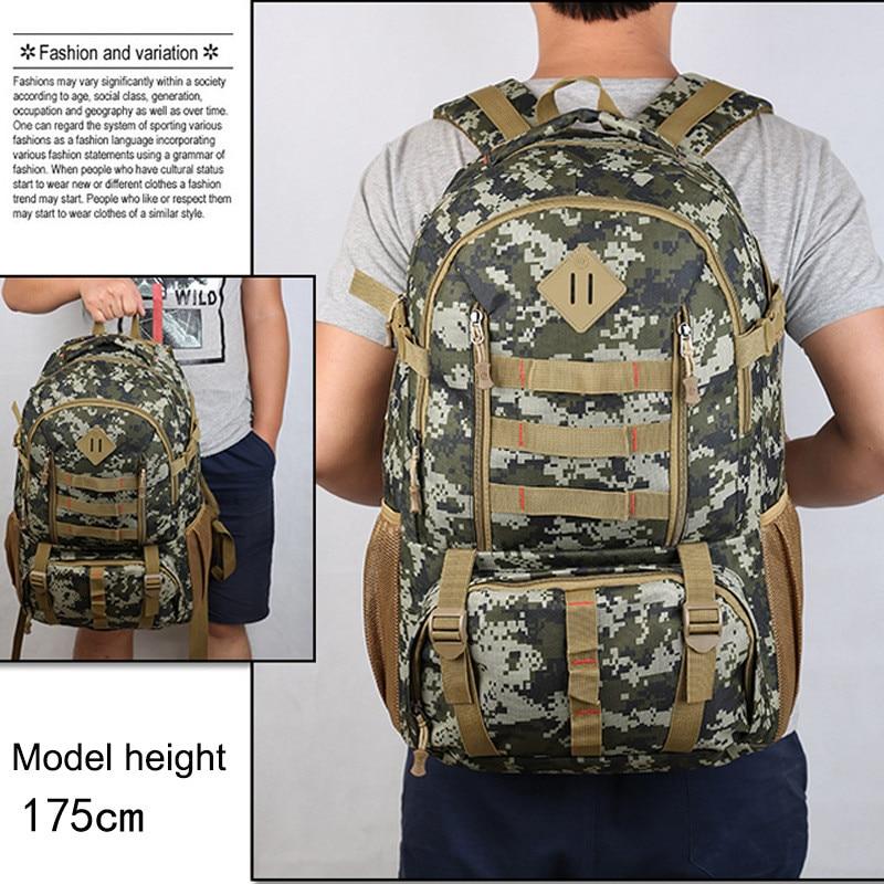 camuflagem do exercito 50l multifuncional mochila caminhadas acampamento ar livre 05