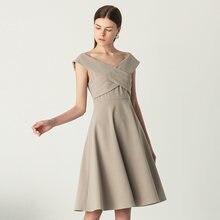 Yigelila Новое поступление серое платье с v образным вырезом