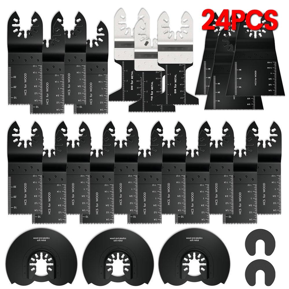 24pcs High Carbon Steel Saw Blades Multi-Function Bi-metal Precision Oscillating Multitool Saw Cutting Multimaster Tools