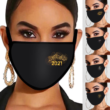 H-appy New Year 2021 Adult Protective Cotton Mask without Nose Strips Straps Stylish Anti Dust Washable Halloween Cool Masks#50 image