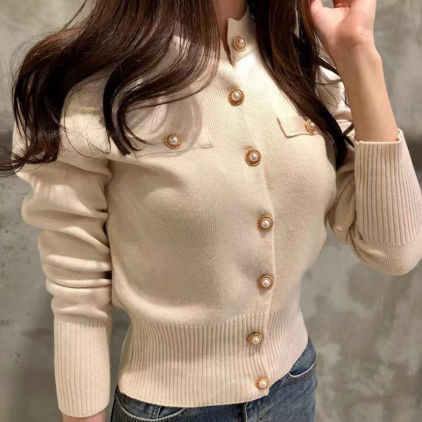 Women O-Neck Knitted Full Sleeve Cropped Buttons Slim Sweaters Cardigans Lady Single-breasted Sweater Crop Tops For Female