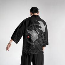 Кимоно мужское оверсайз с японским принтом журавлей кардиган
