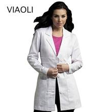 viaoli Women's clothing scrubs uniform coat white scrub clothing  long-sleeve work uniforms spa uniform salon slim Front belt