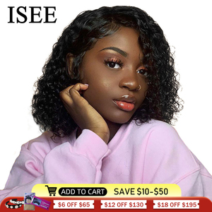 Water Wave Bob Human Hair Wigs Brazilian 360 Lace Frontal Wig ISEE HAIR Lace Closure Wigs Short Bob Lace Front Wigs For Women