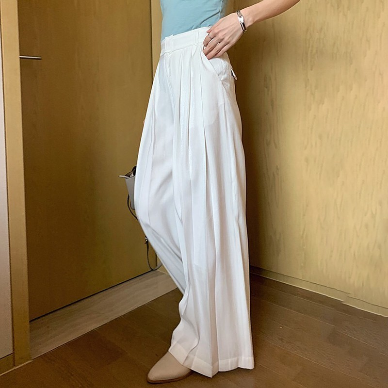Image 2 - TWOTWINSTYLE Casual Wide Leg Pants Women High Waist Ruched Pants Large Size Trousers Female Fashion Clothes 2019 Autumn New-in Pants & Capris from Women's Clothing