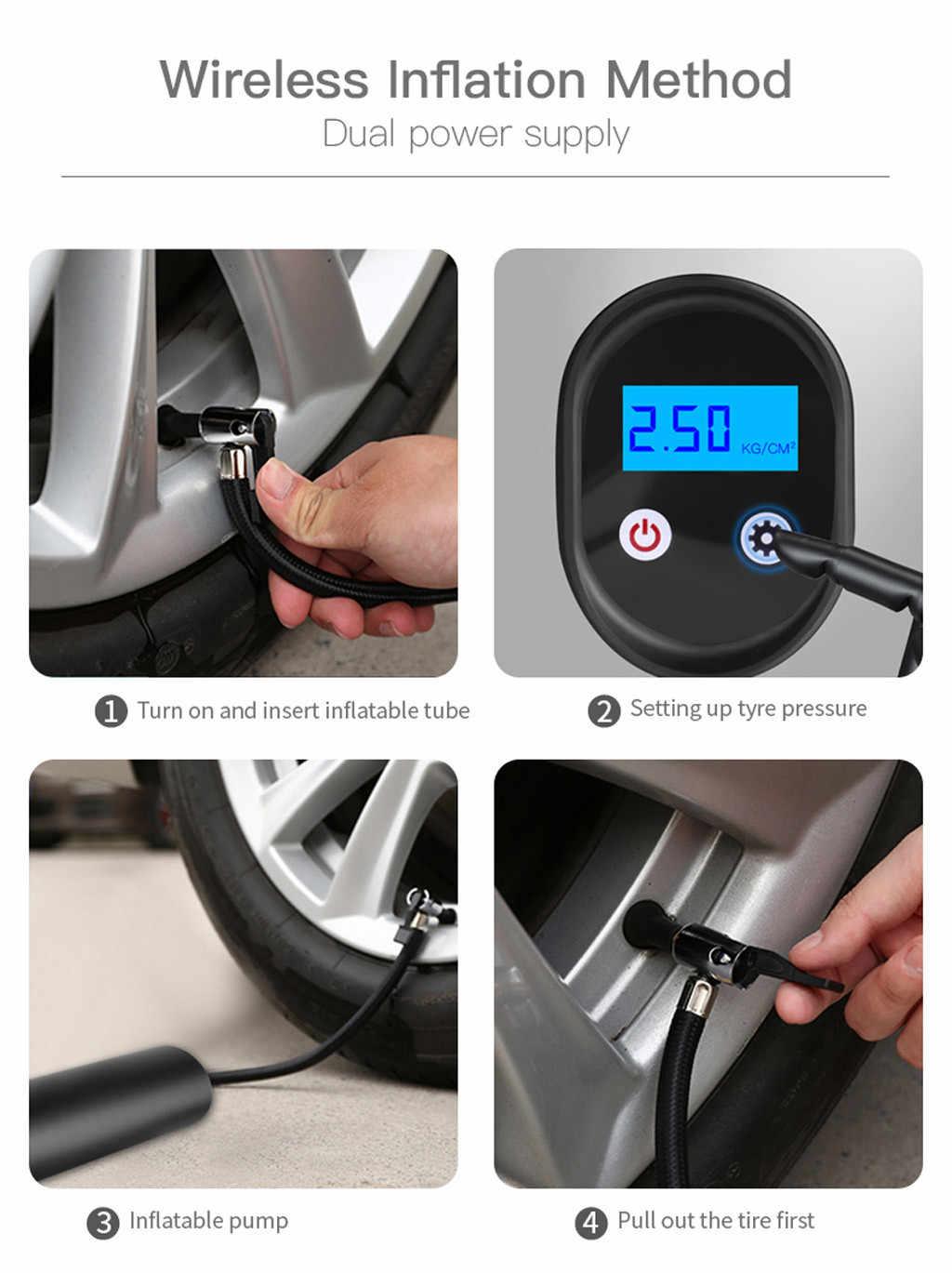 INFLATABLE ปั๊มสายชาร์จรถยนต์ INFLATABLE INTERFACE แบบพกพาไร้สายแบบพกพาเครื่องอัดอากาศ Mini Inflator #916g40