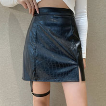 Skirt Crocodile-Print European PU Belt Slit Hip-Wrap Versatile Slim Sexy And American