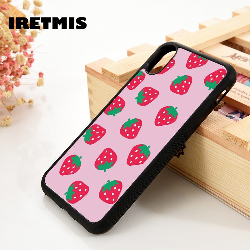 Iretmis 5 5S SE 6 6S Soft TPU Silicone Rubber phone case cover for iPhone 7 8 plus X Xs 11 Pro Max XR Pink Strawberry Pattern