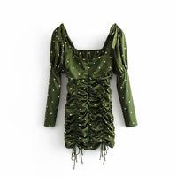 Fashion Women's Mini Dress Vintage Green Ruching The Princess Fitted Polka Dot Short Dress