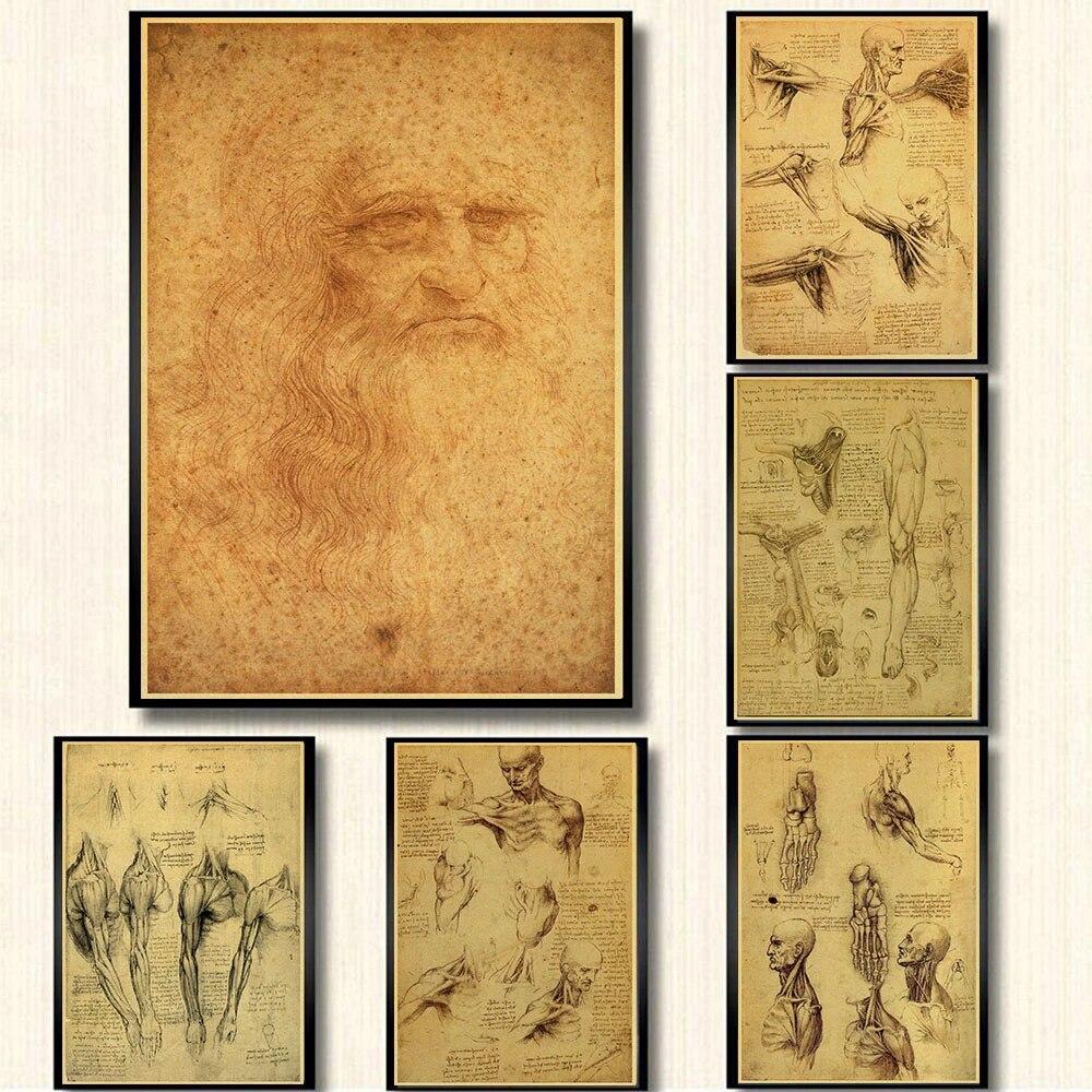 xuyuandass Leonardo Da Vinci Manuskript Vitruvian Leinwand Poster Einfache Und Modische Digitale /Ölgem/älde Kunst Wandaufkleber Bar Home Decoration Frameless40X50Cm E3991
