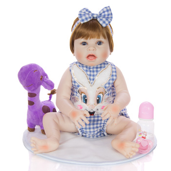 55CM reborn toddler girl doll in blue clothes full silicone vinyl Artist's new design open mouth babies Bath toy on Birthday gif