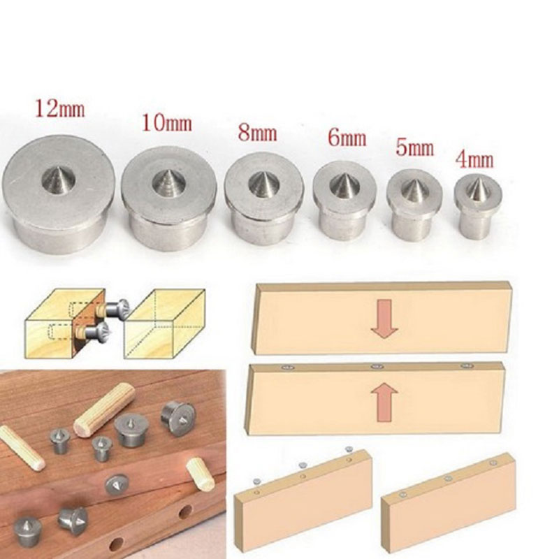 Tool Centre Point Pin 6pcs Wood Tenon Professional 4~12mm Center Dowel Hole Centre Point Pin Tool Drill