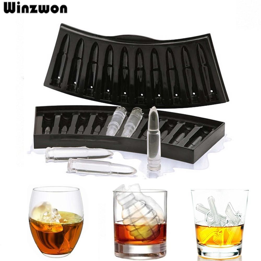 Creative Gun Bullet Skull Shape Ice Cube Maker DIY Ice Cube Tray Chocolate Mold Home Bar Party Cool Whiskey Wine Ice Cream Tool
