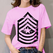 women Hipster Short Sleeve Tee Tops Vintage Army E-9 Sergeant Major Rank Veteran T-shirt