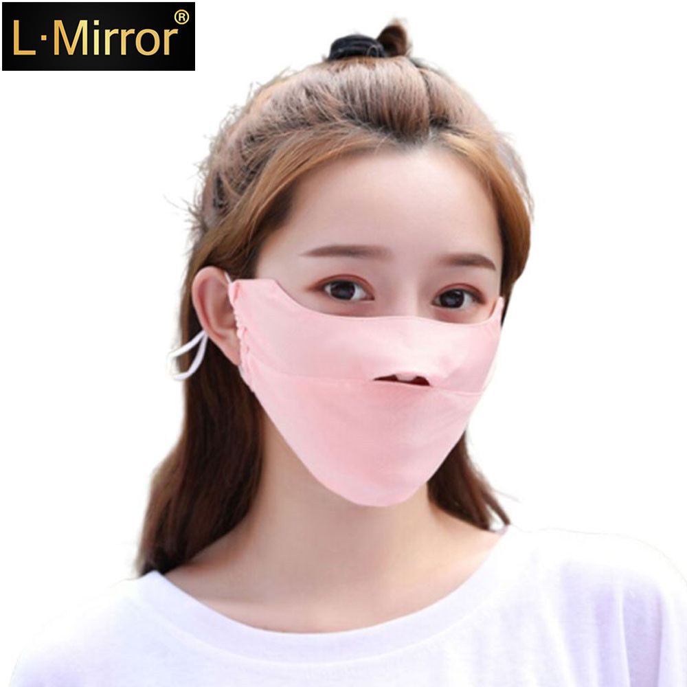 L.Mirror 1Pcs Ice Silk Face Mouth Mask For Sun UV Protection Breathable Mouth Mask Washable Anti Dust Mouth Mask For Summer Cycl