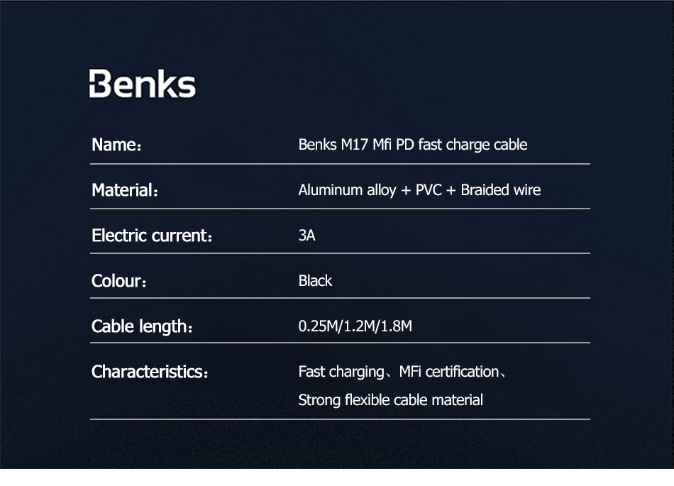 Benks MFi Cable For Apple iPhone XS 11 Pro MAX X XR 8 Plus PD Fast Charging USB Type C to Lighting Phone Cable For iPad Pro Cord (9)