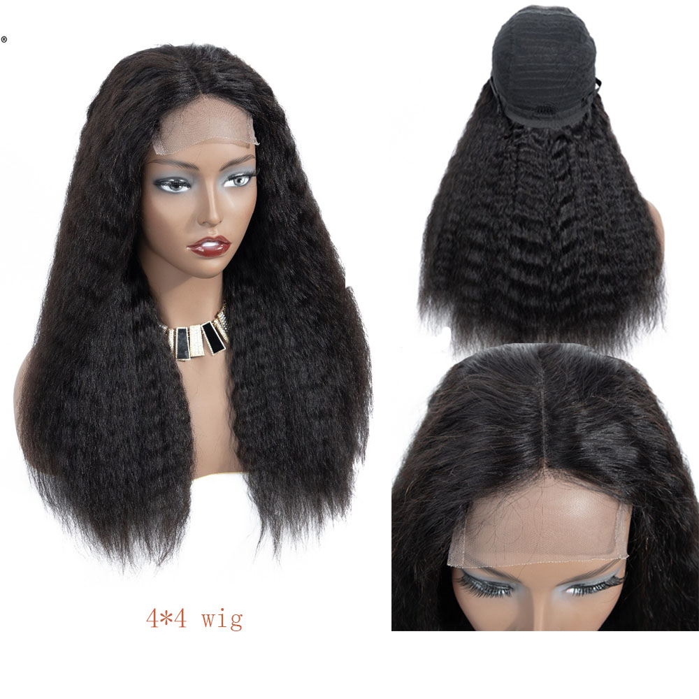 Peruvian Kinky Straight Lace Wigs 4 4 Lace Closure Wig with Baby Hair for Black Women