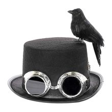 DIY Halloween Party Assembly Retro Steampunk Hat With Goggles, Gears, Black Crow Bird Costume Party Hat Accessories(China)
