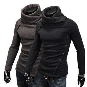 Image 1 - 2019 nouveaux hommes mode chaud à manches longues col roulé chandail veste décontracté col chandail rue confortable chandail XS 4XL