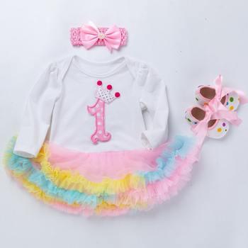 Conjunto de vestido de 1 año de cumpleaños para niñas pequeñas, tutú rosa, tul para fiesta de bodas, vestido infantil de fantasía