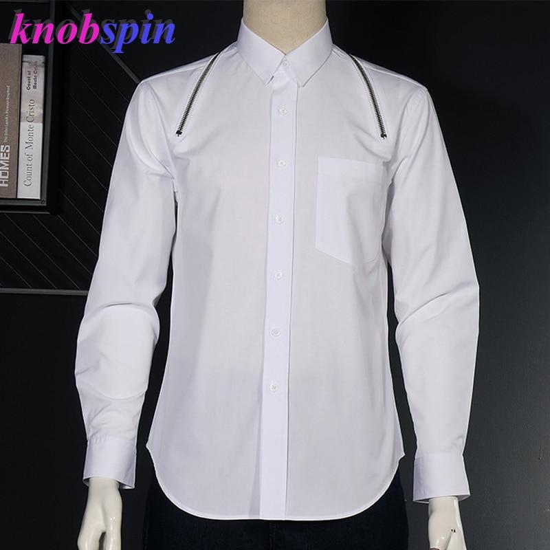 Brand zipper design Men's Fall Shirt Cotton Long sleeve Slim Casual Camisas Black White Anti-Wrinkle Business male dress Shirts