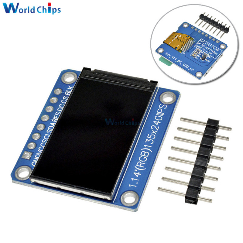 1.14 Inch 135x240 TFT LCD Display Module IPS LCD ST7789 Drive IC HD Colorful Screen Full View 8pin 135*240 3.3V SPI Interface
