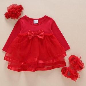 Bebê recém-nascido meninas vestido infantil roupas 1st aniversário menina vestido de festa batismo vestido de manga longa vestidos da menina do bebê 3 6 meses