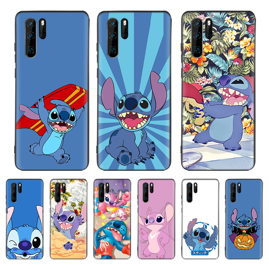 <font><b>Disneys</b></font> Stitchs Cute Black Cover Phone <font><b>Case</b></font> For <font><b>Huawei</b></font> Mate 30 20 10 <font><b>P30</b></font> P20 P10 Pro <font><b>Lite</b></font> P Smart Z 2019 Luxury Coque Shell image