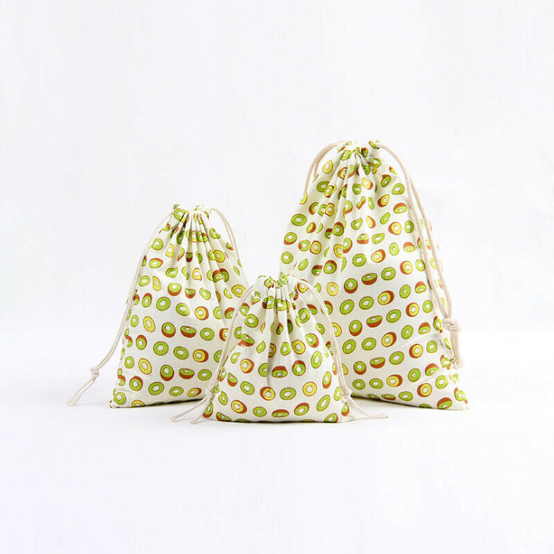 020 Cotton Linen Storage Candy Packaging Bag Cotton Fabric Drawstring Birthday Party Gift Bag Candy Pouch Animal Fruit Print