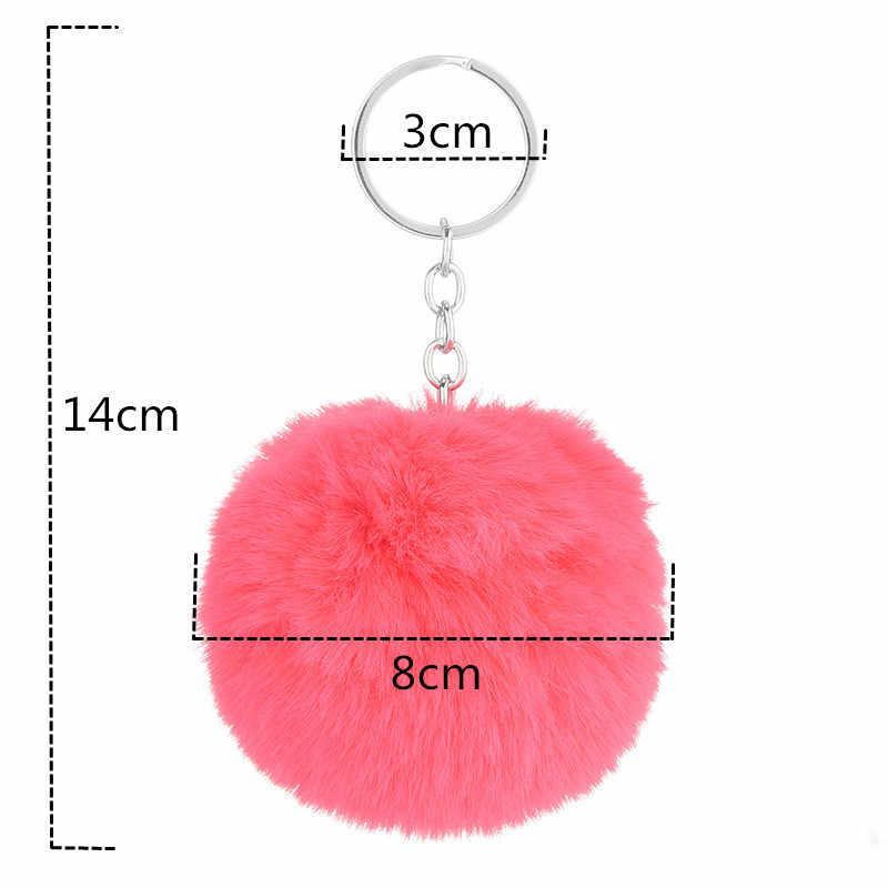 8cm Rsimulation Abbit Fur Bola PomPom Fofo Pom Pom Chaveiros Chaveiro Carro Sacos de Cadeia para Mulheres Llavero Chave Charme acessórios