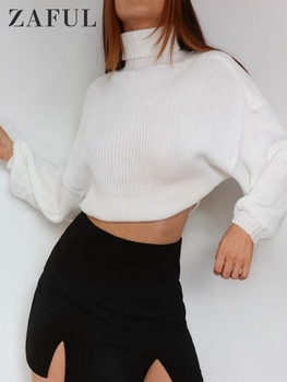 ZAFUL Turtleneck Women Sweater White Lantern Sleeve Pullover Autumn Winter Ladies Casual Warm Jumper Knitted Cropped Sweaters autumn winter turtleneck knitted warm sweaters women new lantern sleeve side slit jumper pullover solid casual loose sweater top