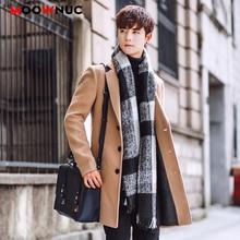 Шерстяное мужское пальто, шерстяное пальто, зима-осень, Мужское пальто, модная брендовая одежда, теплое шерстяное пальто на подкладке, мужское MOOWNUC 5XL